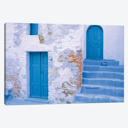 Greece, Symi. Blue doors and stairway of house.  3-Piece Canvas #JYG252} by Jaynes Gallery Canvas Art