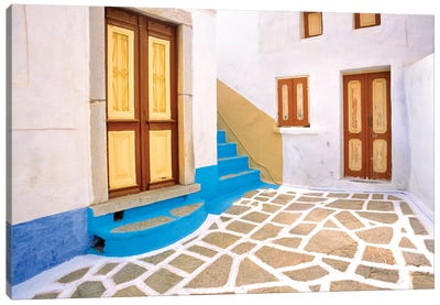 Greece, Symi. Doors to courtyard and stairway of house.  Canvas Art Print