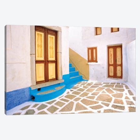 Greece, Symi. Doors to courtyard and stairway of house.  Canvas Print #JYG253} by Jaynes Gallery Canvas Wall Art