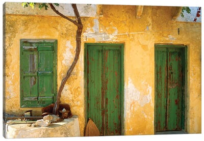 Greece, Symi. Yellow house with green doors. Jim Nilsen, Jaynes Gallery, nobody, travel, tourism Canvas Art Print
