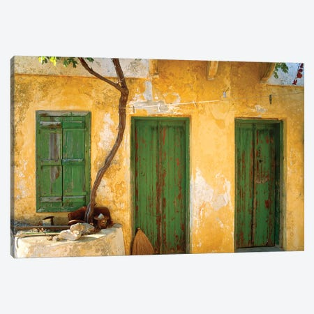 Greece, Symi. Yellow house with green doors. Jim Nilsen, Jaynes Gallery, nobody, travel, tourism Canvas Print #JYG254} by Jaynes Gallery Canvas Art Print