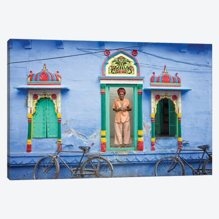 India, Rajasthan, spiritual man in doorway.  Canvas Print #JYG255} by Jaynes Gallery Art Print