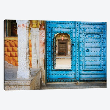 India, Rajasthan. colorful house.  Canvas Print #JYG256} by Jaynes Gallery Canvas Print