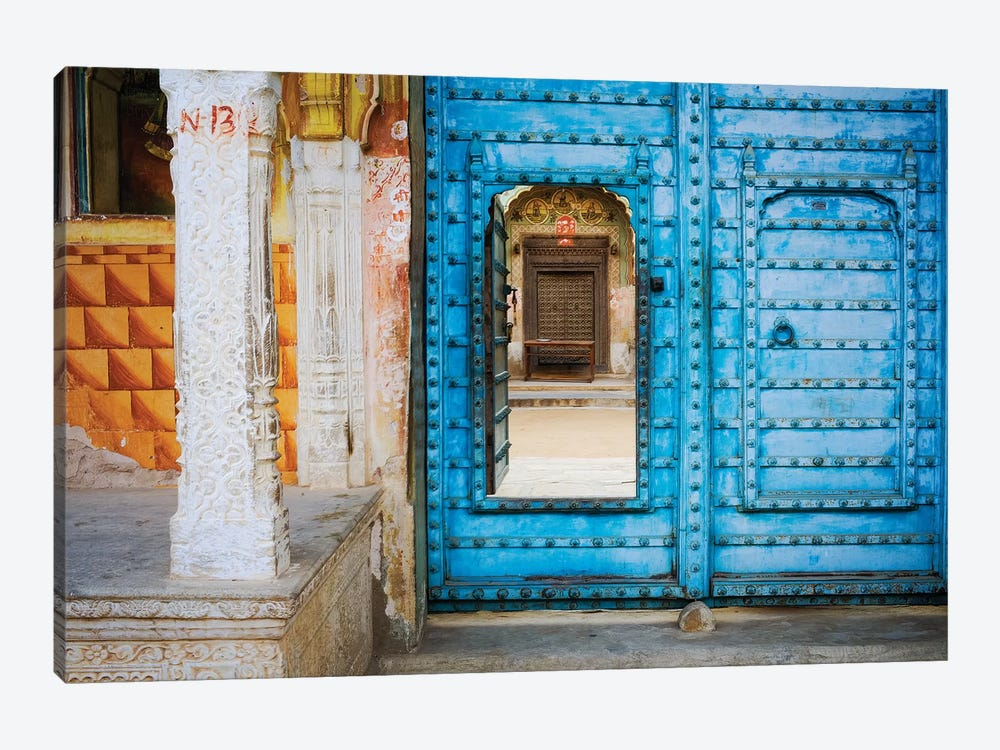 India, Rajasthan. colorful house.  by Jaynes Gallery 1-piece Canvas Artwork
