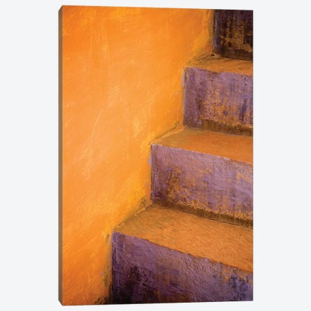 India, Rajasthan. Colorful stairway close-up.  3-Piece Canvas #JYG257} by Jaynes Gallery Art Print