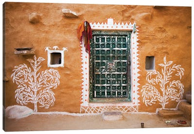 India, Rajasthan. Traditional desert house exterior.  Canvas Art Print