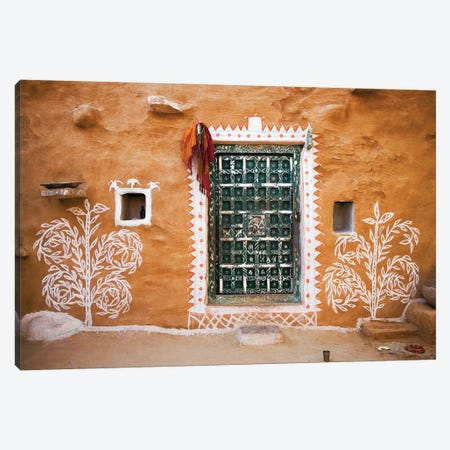India, Rajasthan. Traditional desert house exterior.  3-Piece Canvas #JYG258} by Jaynes Gallery Canvas Wall Art