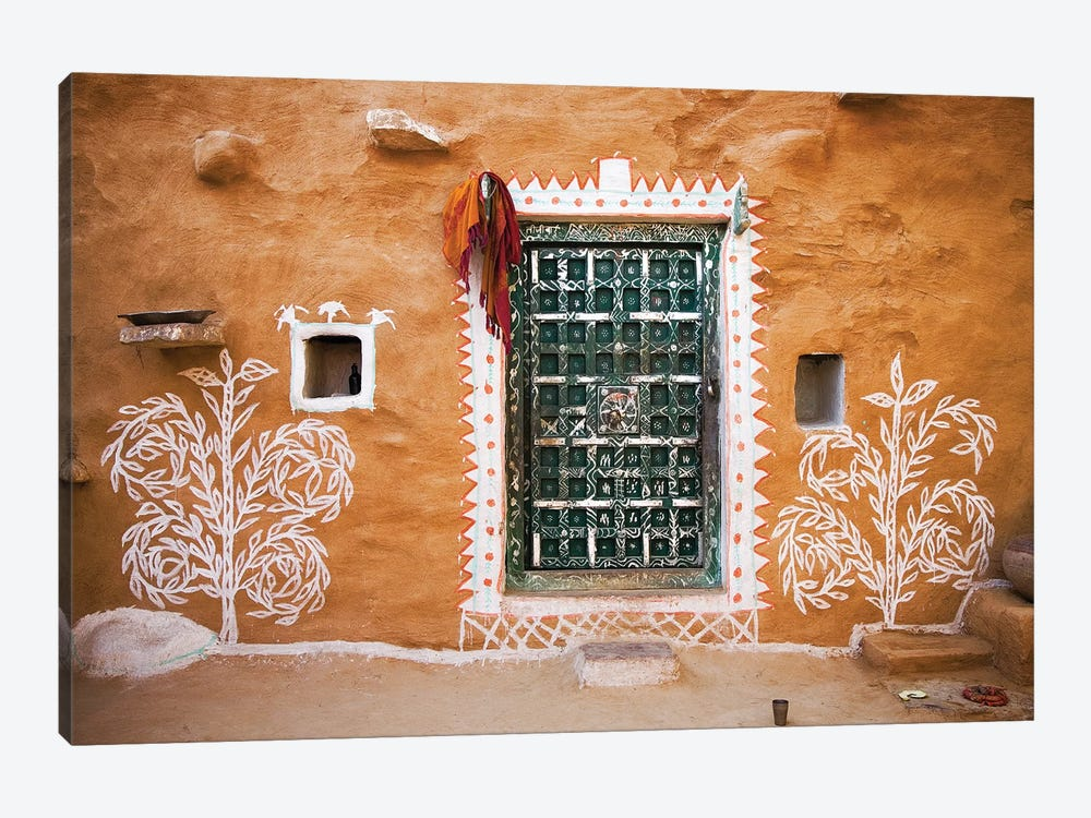 India, Rajasthan. Traditional desert house exterior.  by Jaynes Gallery 1-piece Canvas Artwork