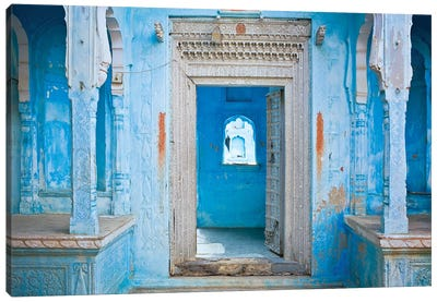 India, Rajasthan. Traditional house entrance.  Canvas Art Print