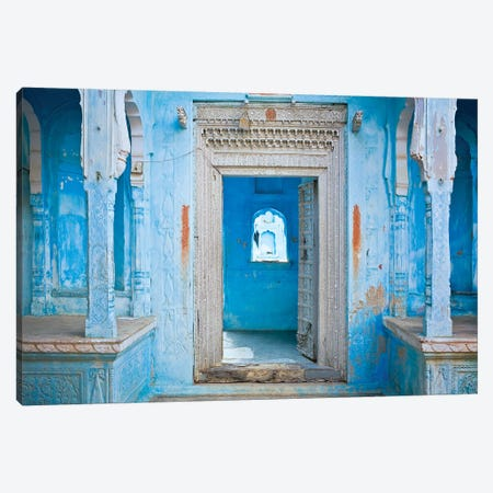 India, Rajasthan. Traditional house entrance.  3-Piece Canvas #JYG259} by Jaynes Gallery Canvas Wall Art