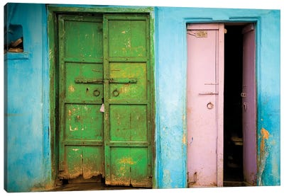 India, Rajasthan. Weathered house door.  Canvas Art Print