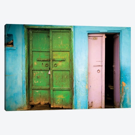 India, Rajasthan. Weathered house door.  3-Piece Canvas #JYG260} by Jaynes Gallery Canvas Art Print