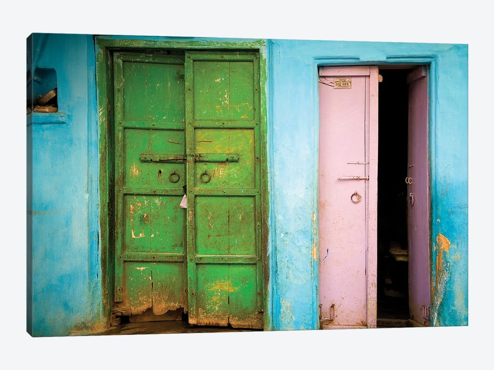 India, Rajasthan. Weathered house door.  by Jaynes Gallery 1-piece Canvas Art Print