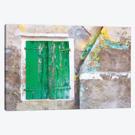 Italy, Burano. Close-up of weathered window shutters.  Canvas Print #JYG261} by Jaynes Gallery Canvas Print
