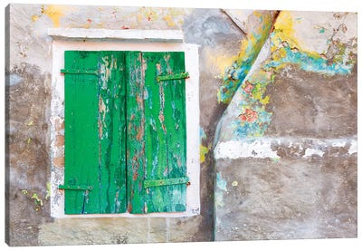Italy, Burano. Close-up of weathered window shutters.  Canvas Art Print