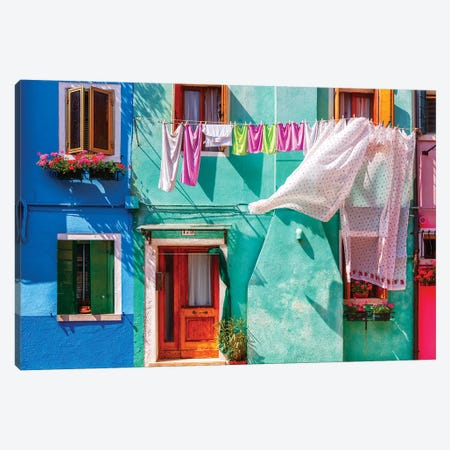 Italy, Burano. Colorful house exterior.  Canvas Print #JYG263} by Jaynes Gallery Canvas Print
