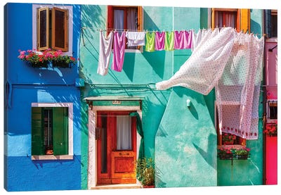 Italy, Burano. Colorful house exterior.  Canvas Art Print