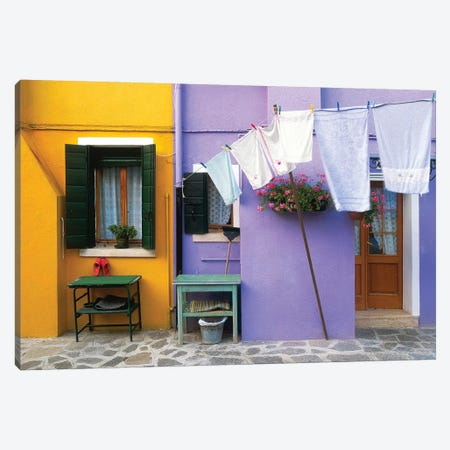 Italy, Burano. Colorful house exterior.  Canvas Print #JYG264} by Jaynes Gallery Canvas Wall Art