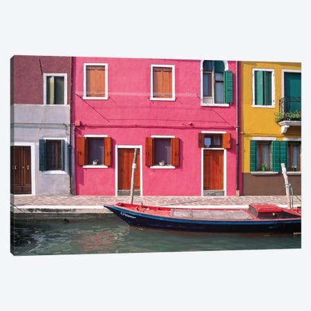 Italy, Burano. Colorful house exteriors and boat in canal.  Canvas Print #JYG266} by Jaynes Gallery Canvas Art