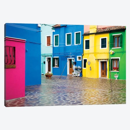 Italy, Burano. Colorful house windows and walls.  Canvas Print #JYG267} by Jaynes Gallery Canvas Art
