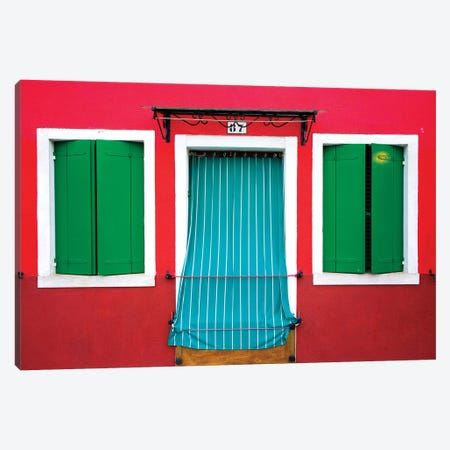 Italy, Burano. Colorful house windows and walls.  Canvas Print #JYG268} by Jaynes Gallery Canvas Print