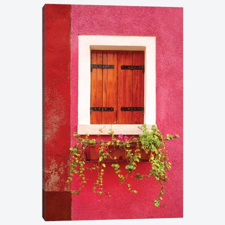 Italy, Burano. Colorful window and walls.  Canvas Print #JYG271} by Jaynes Gallery Canvas Art