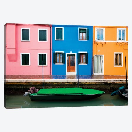 Italy, Burano. Colorful windows and walls.  Canvas Print #JYG272} by Jaynes Gallery Canvas Artwork