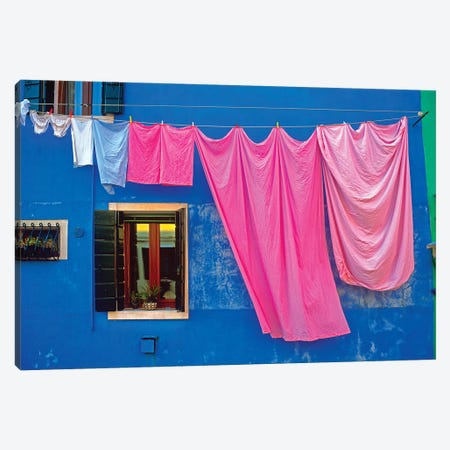 Italy, Burano. Drying laundry and colorful window and wall.  Canvas Print #JYG273} by Jaynes Gallery Canvas Artwork