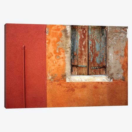 Italy, Burano. Weathered house window and wall.  Canvas Print #JYG274} by Jaynes Gallery Art Print