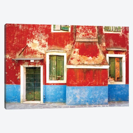 Italy, Burano. Weathered window and walls.  Canvas Print #JYG275} by Jaynes Gallery Canvas Print