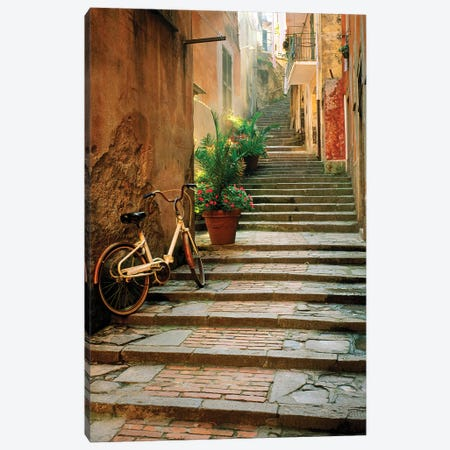 Italy, Cinque Terre, Monterosso. Bicycle and uphill stairway.  3-Piece Canvas #JYG276} by Jaynes Gallery Canvas Print