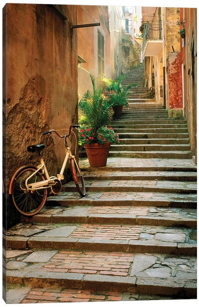 Italy, Cinque Terre, Monterosso. Bicycle and uphill stairway.  Canvas Art Print