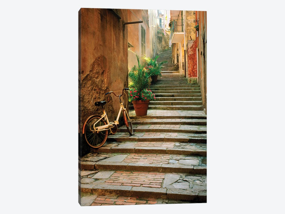 Italy, Cinque Terre, Monterosso. Bicycle and uphill stairway.  by Jaynes Gallery 1-piece Canvas Art