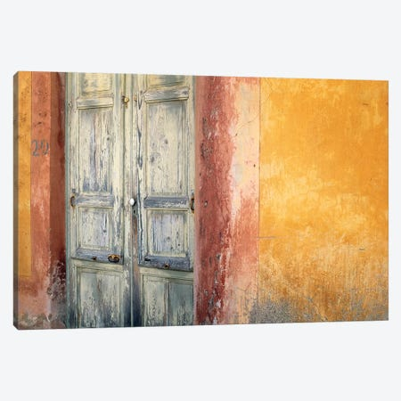 Italy, Lipari. Weathered wall and door.  Canvas Print #JYG278} by Jaynes Gallery Canvas Wall Art