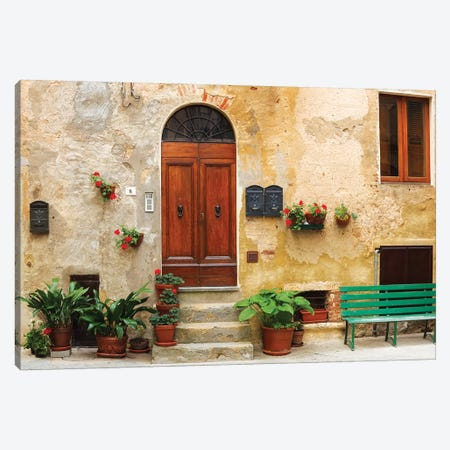 Italy, Pienza. House door.  Canvas Print #JYG279} by Jaynes Gallery Canvas Wall Art