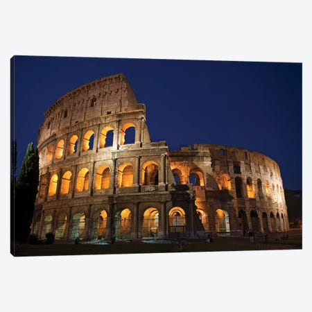 Italy, Rome, Colosseum. Night scene at landmark. Canvas Print #JYG281} by Jaynes Gallery Art Print