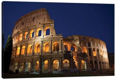 Italy, Rome, Colosseum. Night scene at landmark. Canvas Art Print