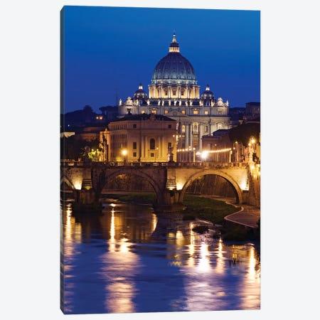 Italy, Rome, St. Peters Basilica, Tiber River night scene. Canvas Print #JYG282} by Jaynes Gallery Canvas Art Print