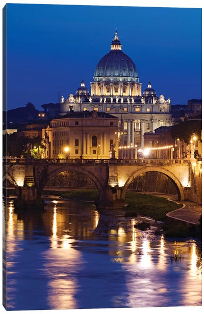 Italy, Rome, St. Peters Basilica, Tiber River night scene. Canvas Art Print