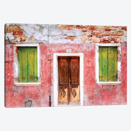 Italy, Veneto, Burano. Weathered house exterior.  Canvas Print #JYG286} by Jaynes Gallery Canvas Art