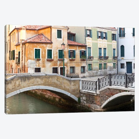 Italy, Venice. Canal bridge and buildings.  Canvas Print #JYG290} by Jaynes Gallery Canvas Artwork