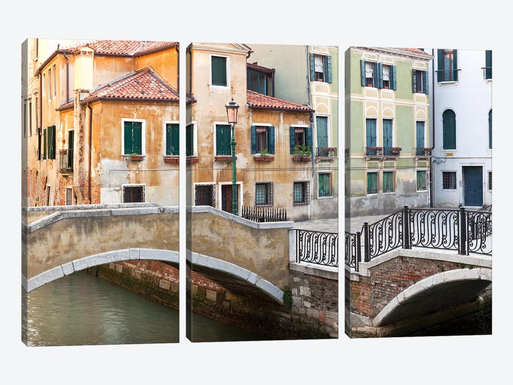 Italy, Venice. Canal bridge and buildings.  by Jaynes Gallery 3-piece Canvas Wall Art