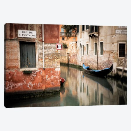 Italy, Venice. Gondola moored in canal.  Canvas Print #JYG293} by Jaynes Gallery Canvas Wall Art