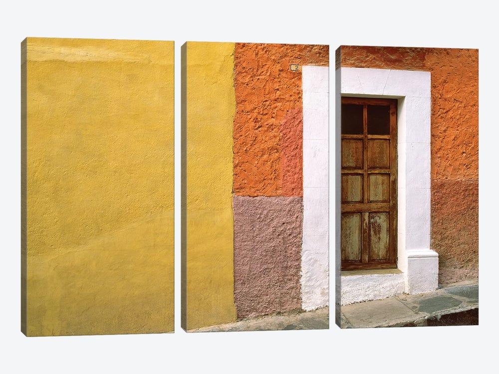 Mexico, San Miguel de Allende. Door and house exterior.  by Jaynes Gallery 3-piece Canvas Wall Art