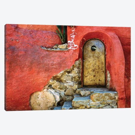 Mexico, San Miguel de Allende. Weathered house door and exterior.  Canvas Print #JYG307} by Jaynes Gallery Canvas Print