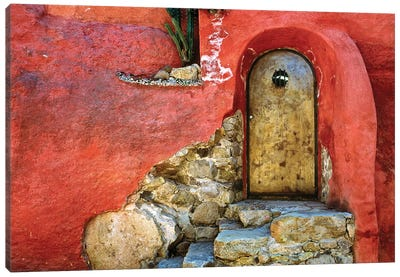 Mexico, San Miguel de Allende. Weathered house door and exterior.  Canvas Art Print