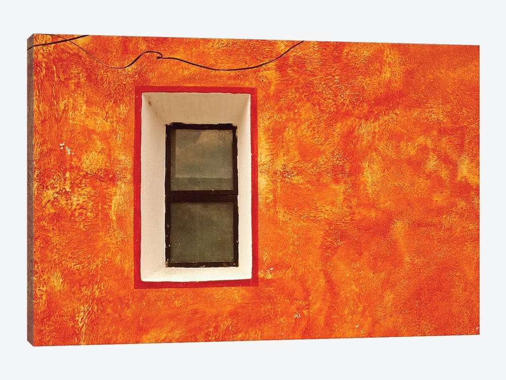 Mexico, San Miguel de Allende. Window in exterior house wall.  by Jaynes Gallery 1-piece Canvas Artwork