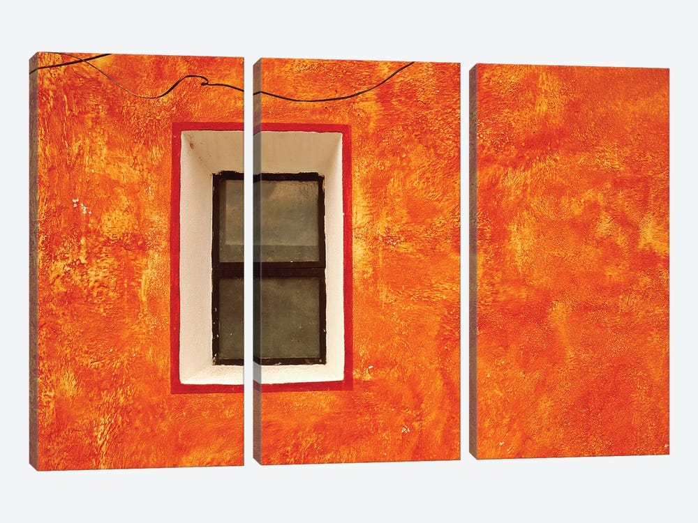 Mexico, San Miguel de Allende. Window in exterior house wall.  by Jaynes Gallery 3-piece Canvas Artwork