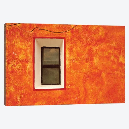 Mexico, San Miguel de Allende. Window in exterior house wall.  Canvas Print #JYG308} by Jaynes Gallery Canvas Artwork