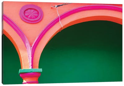 Mexico, Tlacotalpan. Colorful arch and decoration.  Canvas Art Print